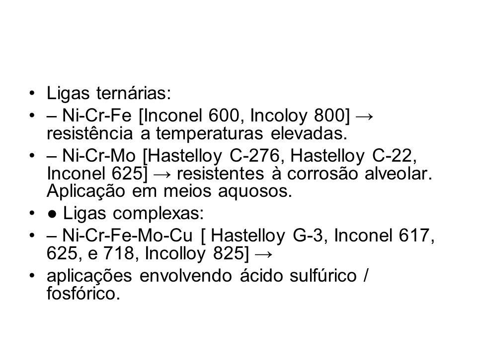 Ligas ternárias: – Ni-Cr-Fe [Inconel 600, Incoloy 800] → resistência a temperaturas elevadas.